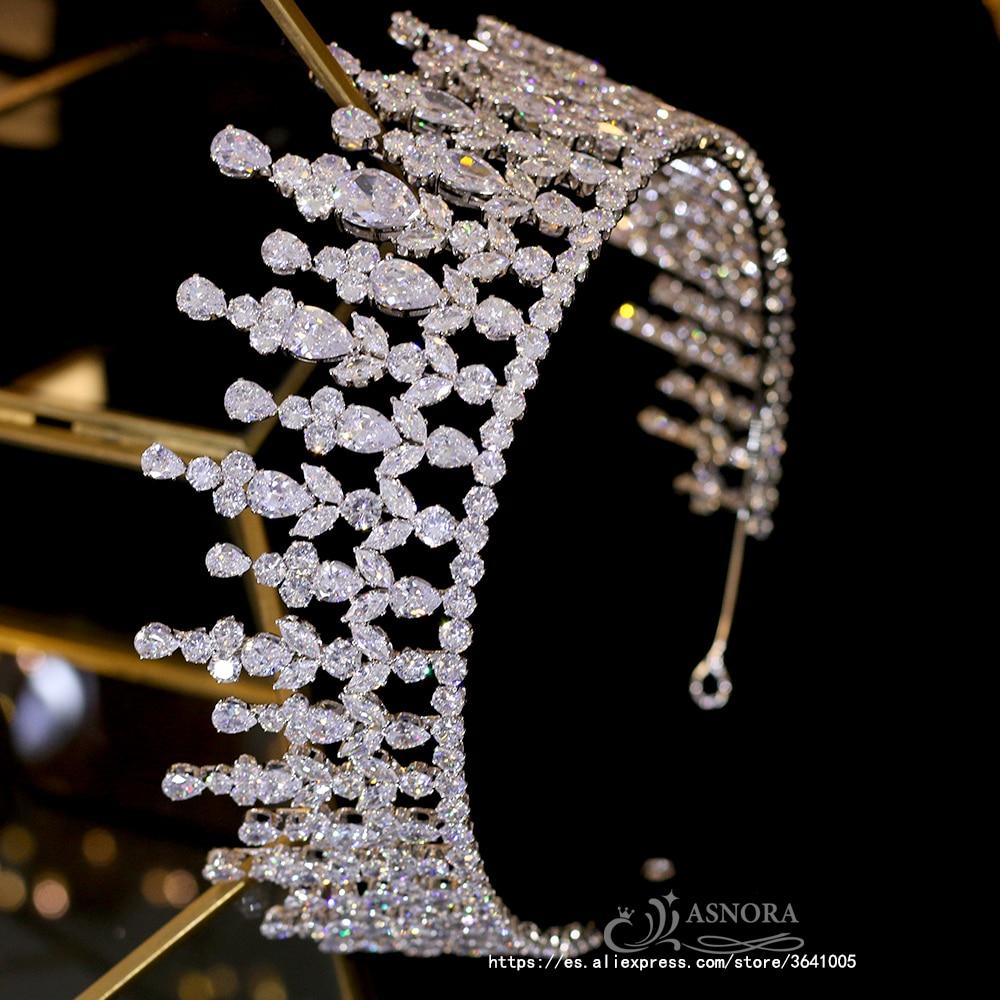 Tocado de cristal barroco blanco de lujo con corona larga diadema nupcial joyería del partido A00662