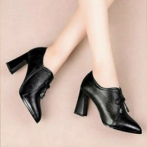 High Heels Woman Leather Shoes Women Pumps Pointed Toe Femal Footware For Female Block Heel Black high heels sexy  high heels