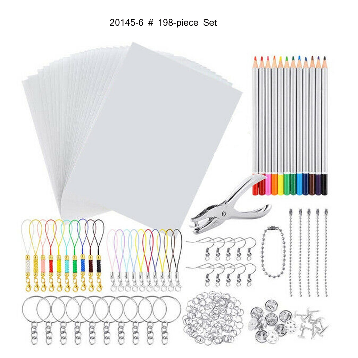 33/145/198PCS Shrinky Art Paper Heat Shrink Sheet Plastic Kit Hole Punch Keychains Pencils DIY Drawing Art Supply