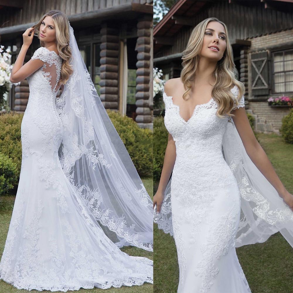 Свадебное платье русалки с v-образным вырезом с открытыми плечами и короткими рукавами, кружевная Иллюзия Аппликации, свадебное платье, ...