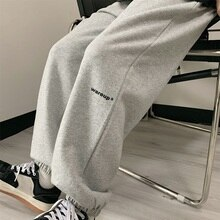 2021 Autumn Winter New Korean Ins Student Loose Casual Pants Fleece-Lined Thicken Ankle-Tied Harem S