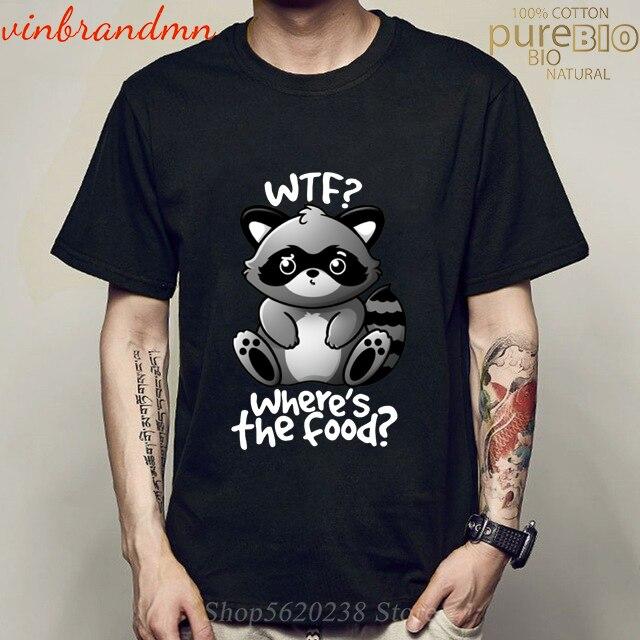 2020 nueva camiseta de verano Kawaii coon bonito y divertido panda whats the food camiseta WTF mapache camiseta chico Highi Camiseta de algodón de calidad