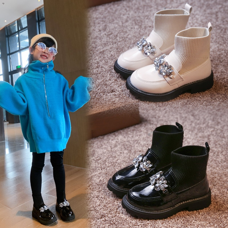 Children Short Boots 2021 New Shoes Autumn Girl Baby Socks Rhinestone Single Boots Princess Winter Shoes For Kids Girls