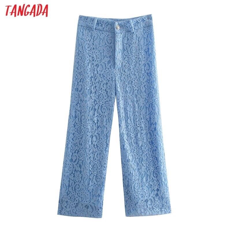 Tangada 2021 Модный женский синий Кружевной укороченный костюм брюки на молнии офисные женские брюки QD25