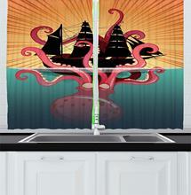 Kraken décor cuisine rideaux corail mer monstre couler le bateau rétro mythes océan Folk histoires inspiré œuvre fenêtre rideaux