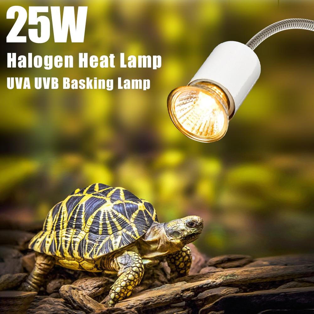 25W reptil lámpara de calefacción halógeno lámpara de calor bombilla UVA UVB disfrutando lámpara de bombilla de luz para los Reptiles lagarto acuario de tortugas