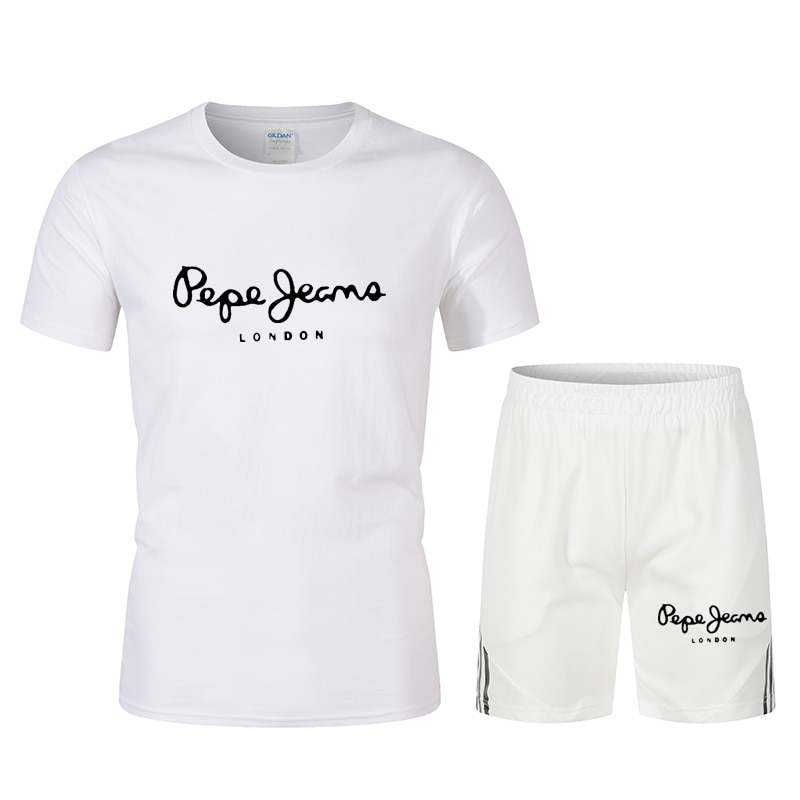 Лето 2021, спортивный костюм, мужская спортивная одежда, модная футболка оверсайз + шорты, комплект из 2 предметов, фирменная мужская одежда, Св...