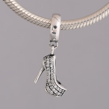 S925  Pendant DIY Jewelry Sparkling Stiletto Dangle Charm fit Pandora Bracelet Bangle Girl Gift Crystal Shoe
