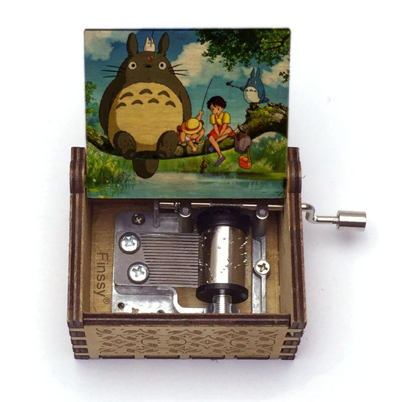 30 Patterns Wooden Totoro Print Music Box Music Theme Tonari No Totoro Hand- Musical Box Kids Girl G