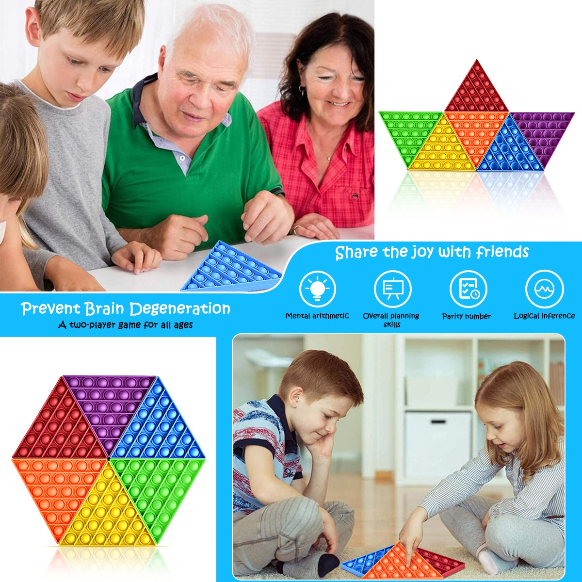 Fidget Push Pops Bubble Sensory Triangle Rainbow Splicing Toy Autism Special Needs Stress Reliever Toys Gift For Childs Kids enlarge