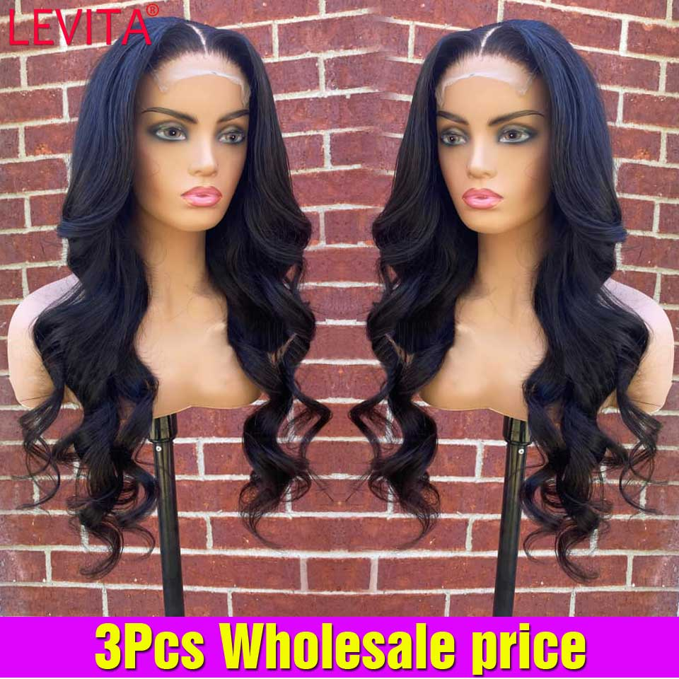 3PCS Wholesale Body Wave Lace Front Wig In Bulk Pre Plucked Lace frontal Wig Brazilian Lace Front Human Hair Wigs For Women
