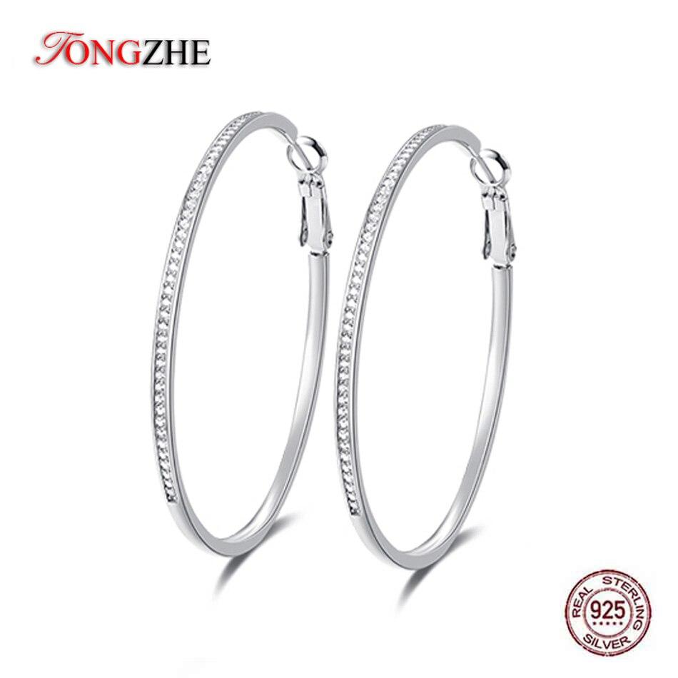 AliExpress - TONGZHE Trendy Real 925 Sterling Silver Huggie Big Hoop Earrings For Women Yellow Gold Earrings Boho Jewelry Factory Wholesale