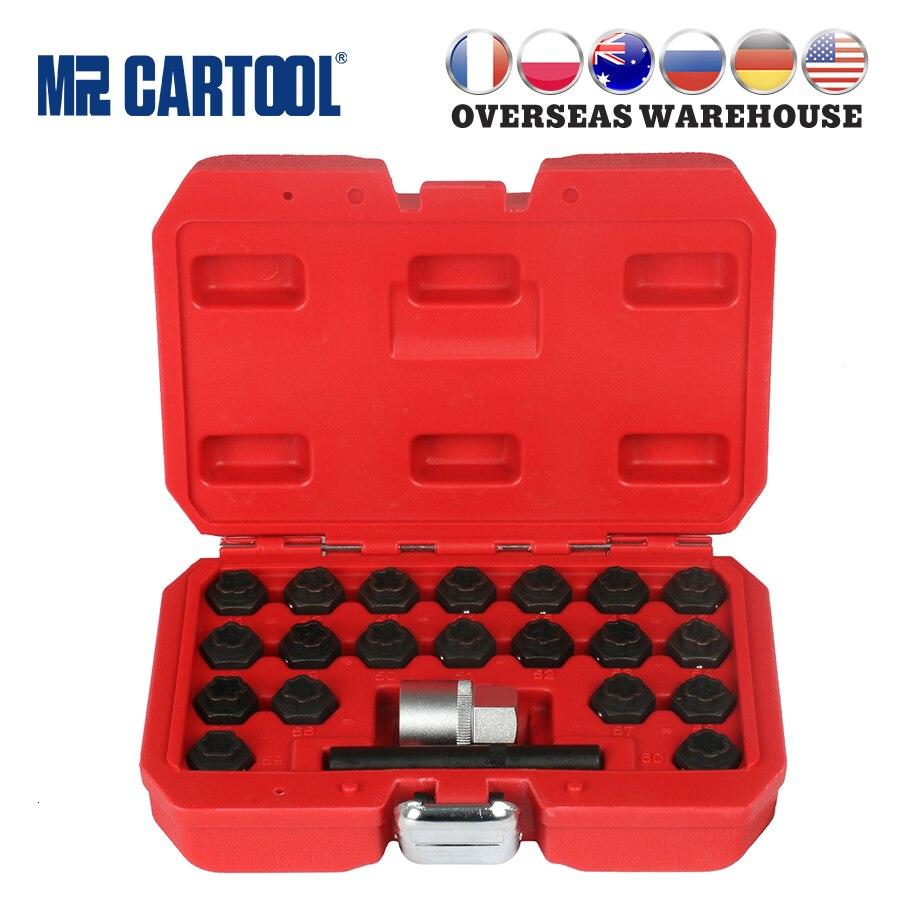 MR CARTOOL 22pcs Anti-Theft Screws Removal/Install Socket Sleeve Set Kit For BMW Wheel Lock Auto Tire Repair Garage Tools