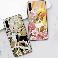 funny cat case for huawei p30 p20 p40 lite pro mate 40 30 20 honor 30 20 10 pro lite 9x p smart 2019 tempered glass phone fundas