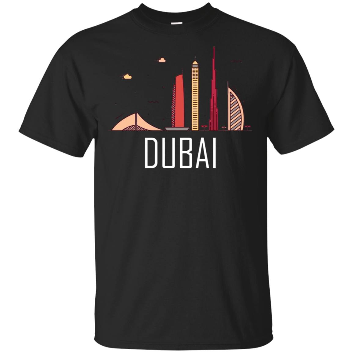 Burj Khalifa Burj Al Arab Skyline Skyscraper Dubai T-Shirt Black-Navy Men-Women