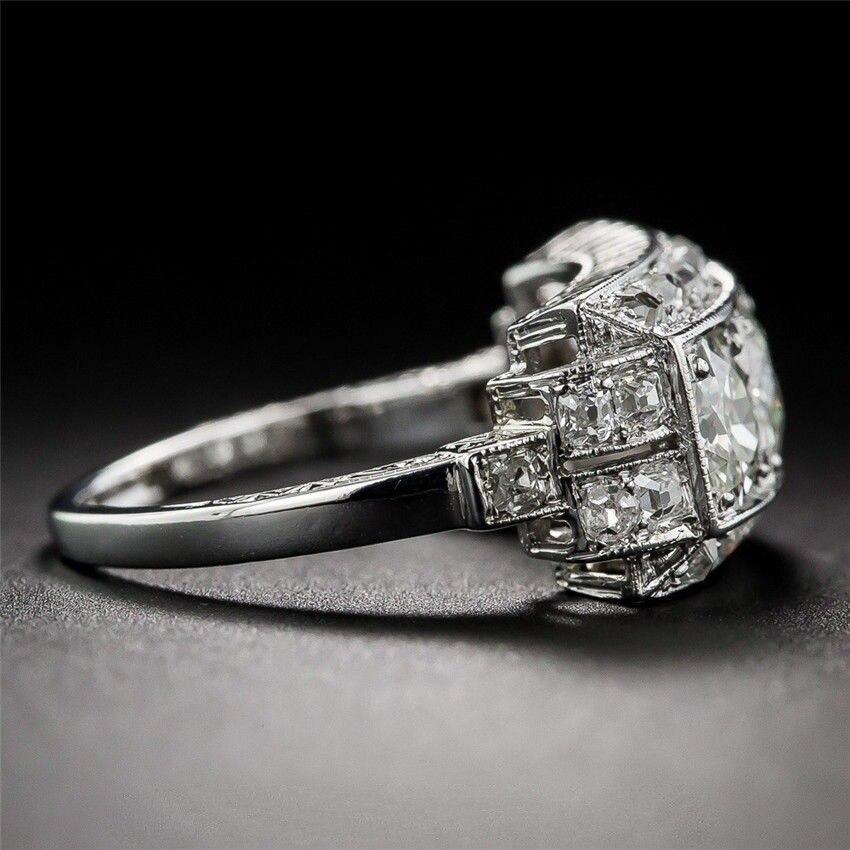 Natural 2 quilates branco moissanite anel prata s925 sterling bague bizuteria para mulher anillos prata 925 anel de jóias para mulher