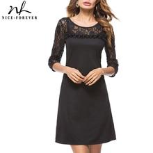Nice-forever Elegant Black Lace Dresses Party Loose Straight Shift Women Dress T023