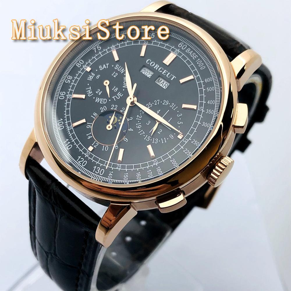 Corgeut-ساعة ميكانيكية فاخرة للرجال ، 42 مللي متر ، علبة من الذهب الوردي والأسود ، قرص القمر ، ساعة أوتوماتيكية ، هدية