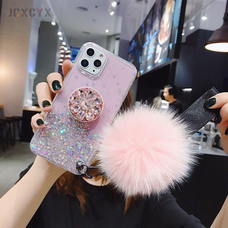 3D держатель алмаза стенд блеск Hairball мягкий чехол для iPhone X XR XS 11 Pro Max 6 7 8 plus для samsung S8 S9 S10 Note A50