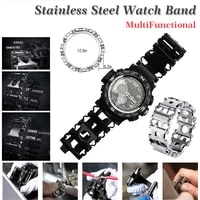 29 in 1 stainless steel multifunction 20mm 22mm watch band for samsung watch strap travel wearable multitool tread bracelet
