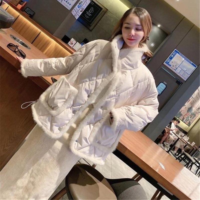 2021 جديد الشتاء سترة المرأة 90% الأبيض بطة أسفل معطف ريال الطبيعية فرو منك خياطة بلاكيت فضفاض دافئ ملابس خارجية الشارع الشهير