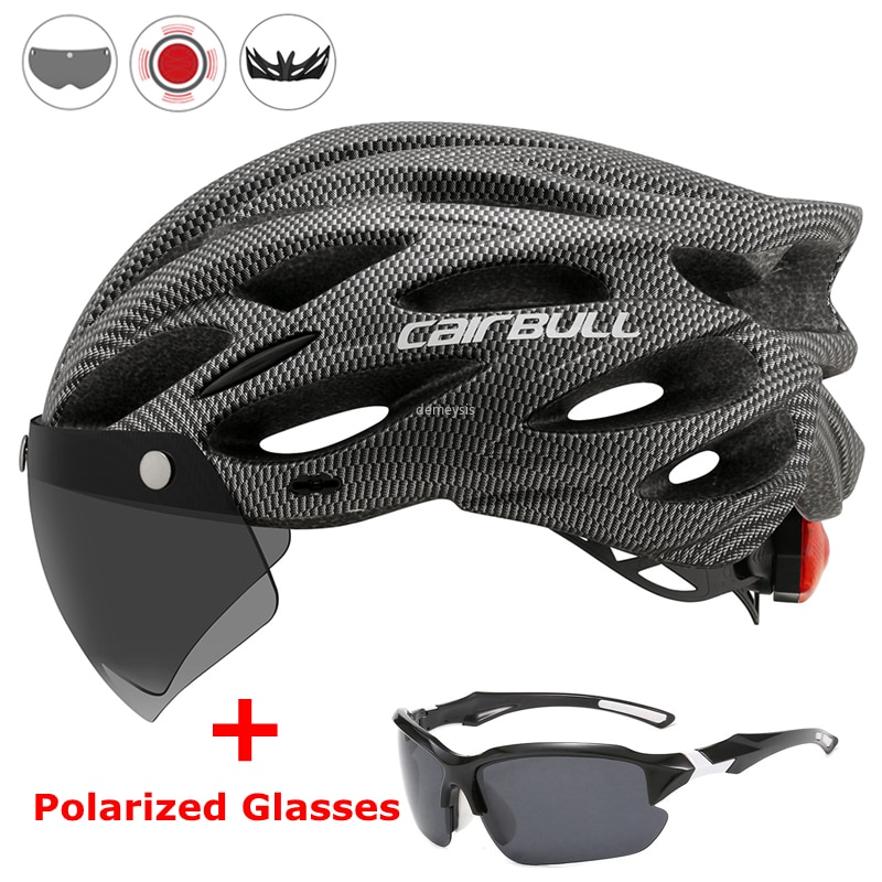 Ultralight Cycling Safety Helmet Outdoor Motorcycle Bicycle Taillight Helmet Removable Lens Visor Mo