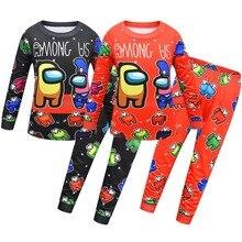 Nouveau ensemble de pyjamas de bande dessinée pour enfants, pyjamas danime de noël pour enfants, vêtements de maison à manches longues pour garçons et filles