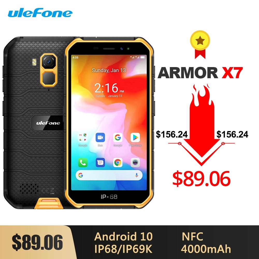 Перейти на Алиэкспресс и купить Прочный водонепроницаемый смартфон Ulefone Armor X7, Android 10, 5,0 дюйма, 2 ГБ 16 ГБ, IP68/IP69K четыре ядра, 4000 мАч, NFC, 4G LTE мобильный телефон