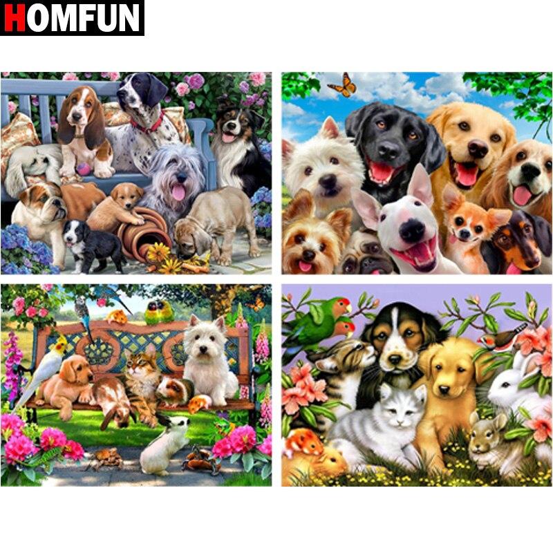 """HOMFUN diamante pintura """"Animal gato perro flor"""" cuadrado completo/redondo taladro decoración de la pared con incrustaciones de resina bordado artesanal punto de cruz"""