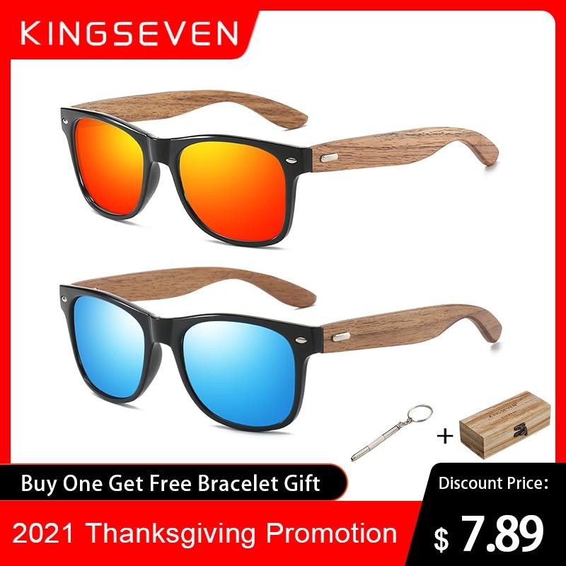 KINGSEVEN Brand 2021 Fashion 100%Handmade Natural Wooden Men Sunglasses Polarized Sun Glasses Women UV400 Mirror Eyewear