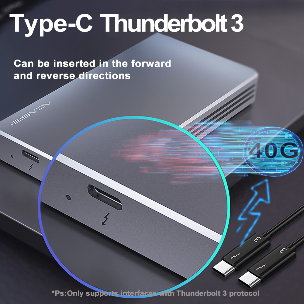 Acasis Thunderbolt 3 40Gbps NVME M.2 SSD Enclosure 2TB Aluminum Type-C with 40Gbps Thunderbolt 3 C to C Cable For Mac Windows enlarge
