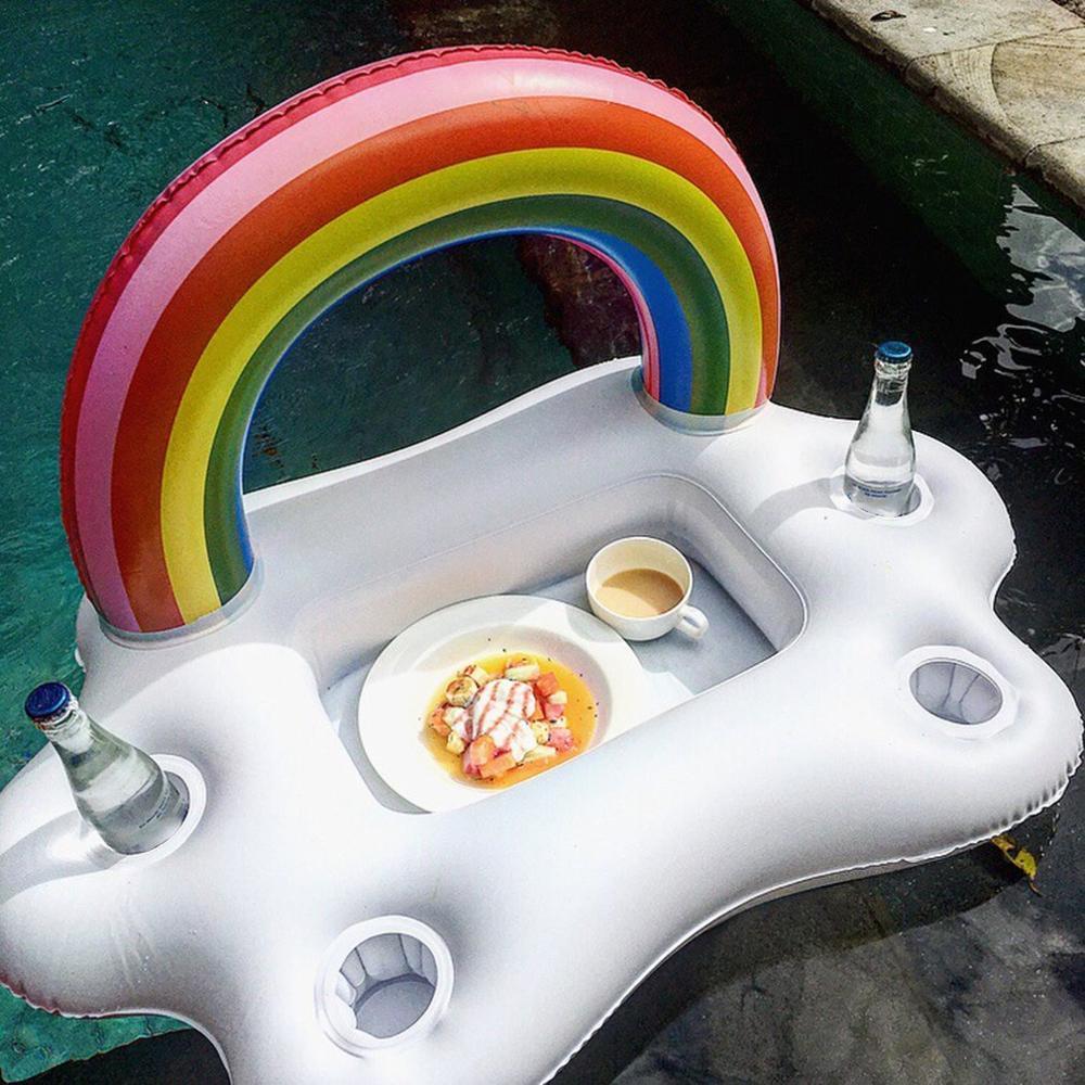 Verano fiesta cubo nube Arco Iris portavasos inflar piscina cerveza enfriador Mesa Bar playa inflable flotador anillo de natación
