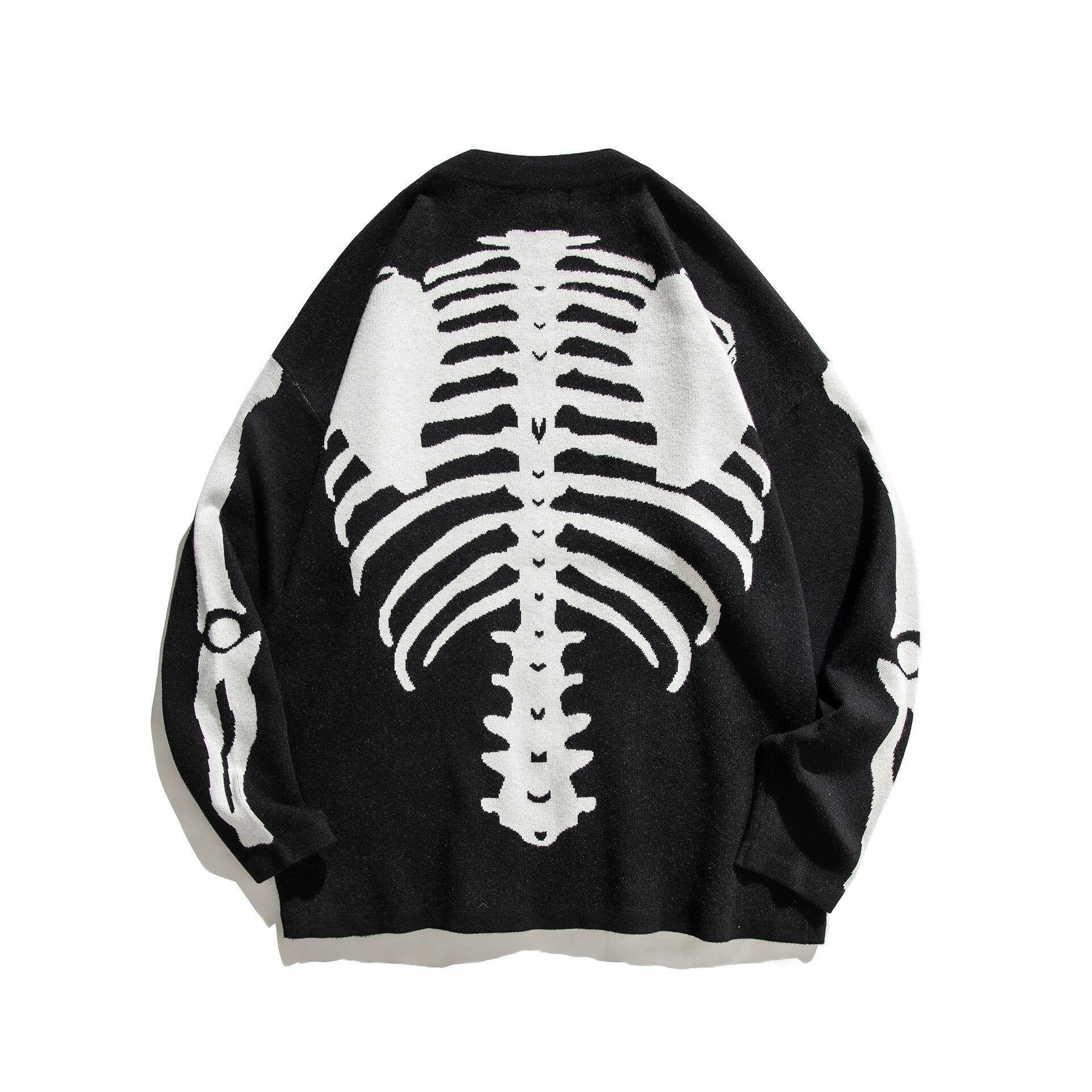 الهيكل العظمي العظام الجاكار سترة محيكة عصرية 2020 الشارع الشهير Harajuku سترة غير رسمية الرجال الملابس معطف الشتاء الرجعية فضفاض زوجين