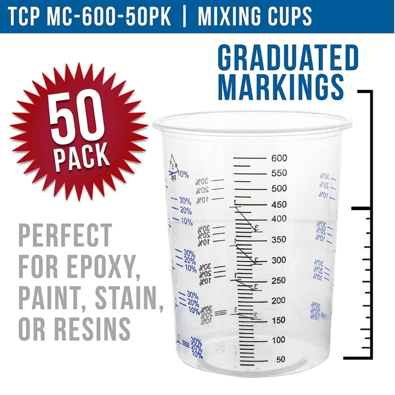 50pcs 600ml Disposable Epoxy Resin Plastic Measuring Cups Kit Resin Mold Paint Measuring Cup Epoxy Graduated Cups Beaker