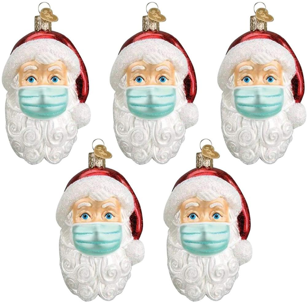 5pcs Santa Claus DIY windowsi Quarantine  Christmas Personalized Santa Pendant Decorate Hanging Xmas Tree Ornament 2021 New Year