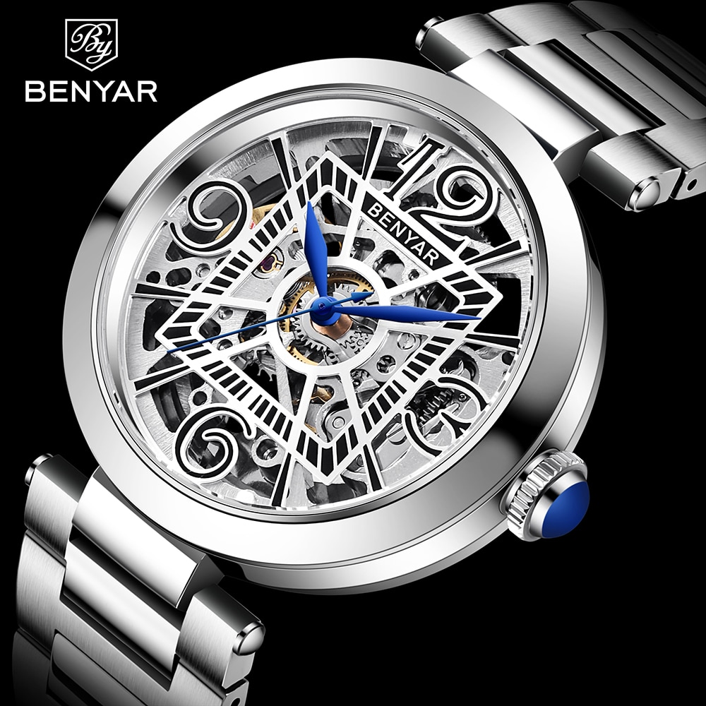 Benyar New 2021 Men Mechanical Watch Luxury Stainless Steel Automatic Mens Fashion Sports Waterproof Clock For
