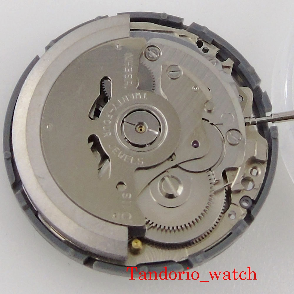 Accuracy 24 Jewels NH36 NH36A Automatic Watch Movement Black/White Date Day Wheel High Quality Wristwatch Replacement enlarge