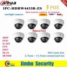 Dahua cámara IP 4MP starlight POE IPC-HDBW4433R-ZS 8 unids/lote 2,7mm ~ 13,5mm lente motorizada H2.65 IR50M ranura para tarjeta SD IK1 IP67