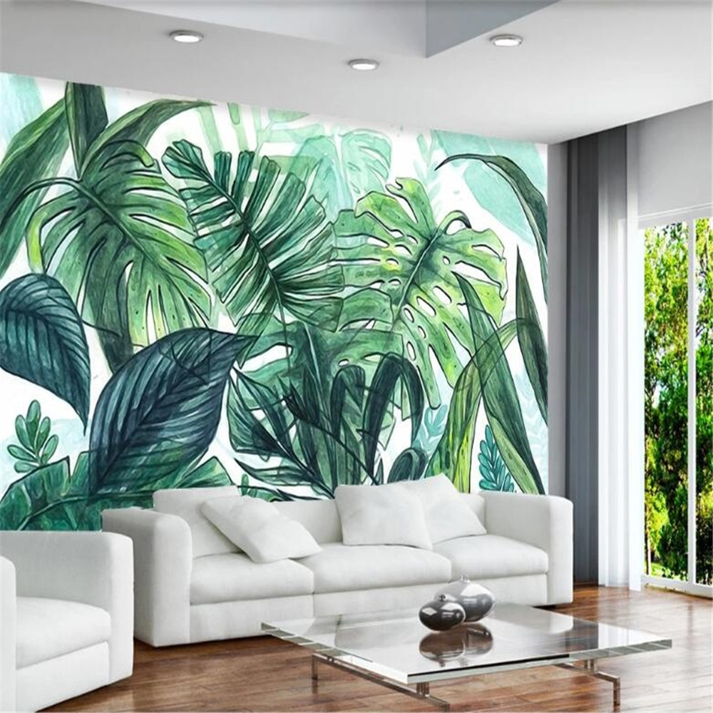 Milofi customized 3D photo wall paper Nordic minimalist tropical hand-painted banana leaf living room mural background wall professional 10x20ft hand painted column arch scenic muslin photo backdrop background customized service size photos