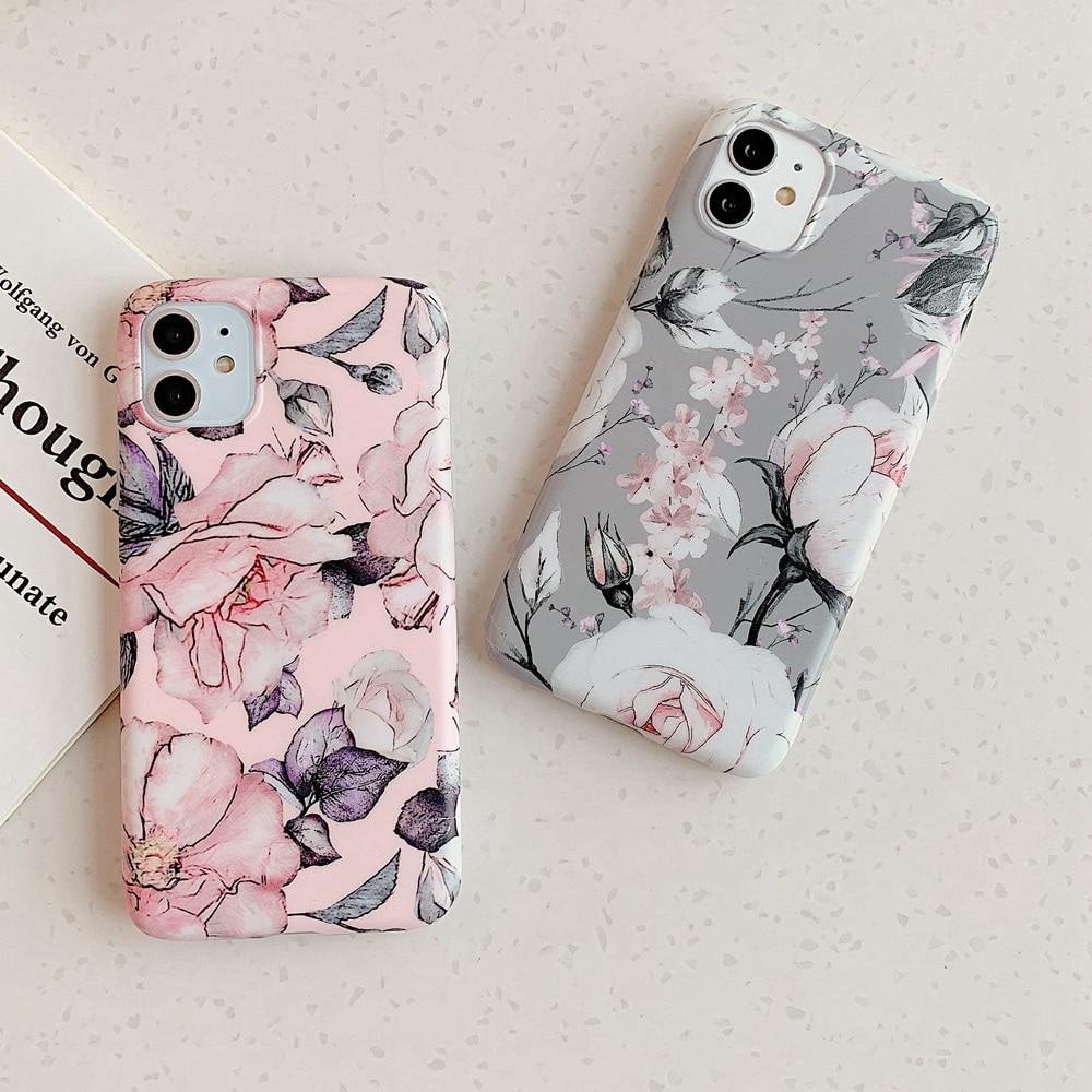 Funda mate de silicona para iPhone SE2 7 8 Plus, funda Vintage de TPU con flores para iPhone X XR XS Max iPhone11 11 Pro Cover