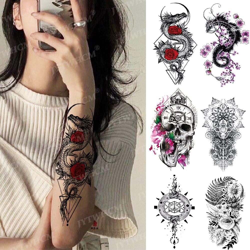 Temporary Waterproof Tattoo Flower Dragon Snake Sexy Cool Tattoo Female Lion Skull Eye Totem Body Art Arm Fake Sleeve Tattoo Men