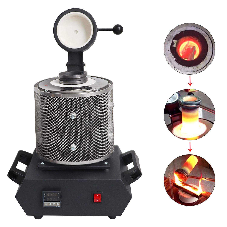 Electric Jewelry Melting Furnace 1kg/2kg/3kg, 1600W Aluminum, Copper, Gold, Lead, Silver, Induction Melting Ovan Furnace