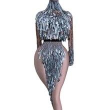 Clignotant argent paillettes frange robe fendue femmes discothèque danse Costume Performance scène spectacle vêtements anniversaire Rave tenue