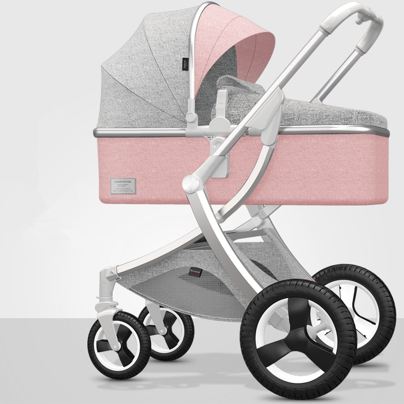 High Landscape Baby Stroller 3 in 1 Baby Wheelchair Portable Adjustable Pink Stroller Travel Pram Pushchair with Many Free Gifts enlarge