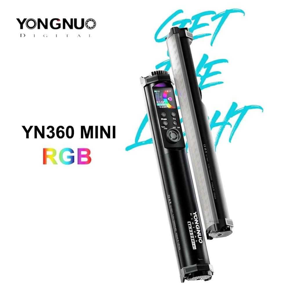 Yongnuo-YN360 mini YN 360 أنبوب إضاءة محمول RGB ، ملء إضاءة الصور ، عصا إضاءة الفيديو ، التحكم في التطبيق