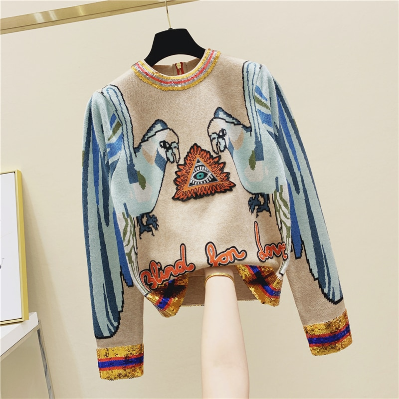 Модный свитер с узором для женщин расшитый блестками стерео попугай вышитый