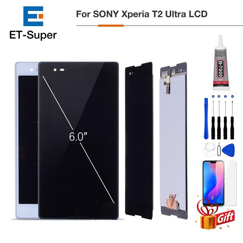 Original 6.0 polegada LCD Assembléia Digitador Para SONY Xperia T2 Ultra Touch Screen Display LCD Para SONY Xperia T2 Ultra d5322 D5303 D5306 Screen Display Substituição de Peças + Brindes