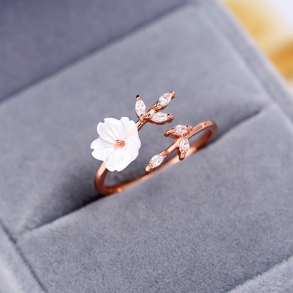 Conjunto de Color oro rosa Anel Feminino Bijoux anesis hermoso temperamento zirconia ramas hojas cáscara flores anillo regalos #10