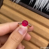 kjjeaxcmy fine jewelry 925 sterling silver inlaid natural adjustable ruby new female ring woman girl miss support test with box