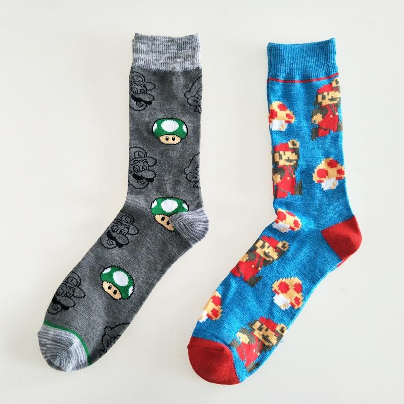Meias padrão masculino homem criativo jogo super mario bros meias colorido unisex alta engraçado algodão sox adulto primavera na moda socken